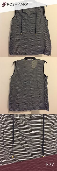 Jones New York Sheer Top Jones New York sheer sleeveless top, size Medium. Navy blue and white with front tie. Jones New York Tops