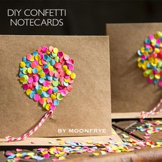 DIY Confetti notecards by Moonfrye.com  Moonfrye DIY/ Confetti Crafts/ Kids Crafts/ DIY Cards #Moonfrye
