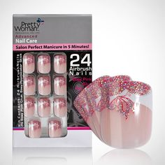 Pretty Woman Airbrush Nail Tips -French Pink with Glitter Butterfly -- Want additional info? Click on the image.