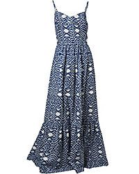 "Betsey Jonson's indigo and white Aztec printed maxi dress is perfect for lounging around the beach resort all summer long. It also pays homage to the ""Global Beat"" trend this season."