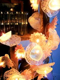 cupcake liners and white lights...