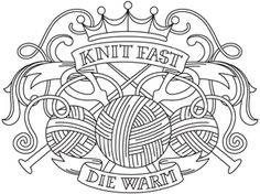 Knitting needles and balls of yarn make up a pretty crest design, perfect for shirts and totes. Downloads as a PDF. Use pattern transfer paper to trace design for hand-stitching.