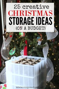 Easy Christmas storage ideas on a budget. Organizing Christmas Decorations doesn't have to cost your a fortune with these easy storage bins on sale.