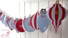 ADVENT Calendar VIntage - Printable File - DIy - Vintage Christmas ball