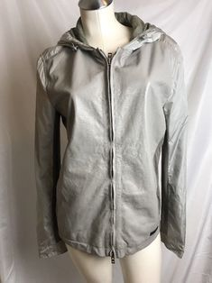 Patrizia Pepe  680 Women L Taupe Brown Leather And Nylon Hooded Jacket !!!    eBay 46646904a1