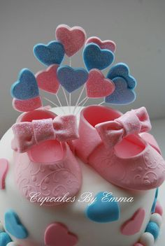 Baby girl shoe cake toppers