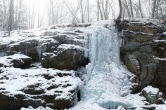 Blackledge Falls in winter freeze - Glastonbury, Connecticut
