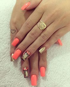 Top 30 Trending Nail Art Designs And Ideas - Nail Polish Addicted Hot Nails, Hair And Nails, Gorgeous Nails, Pretty Nails, Coral Nails With Design, Tribal Nails, Nails Polish, Orange Nails, Types Of Nails