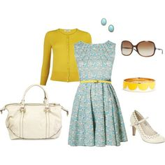 pale blue dress and yellow belt