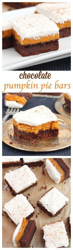 Perfect for fall potlucks, these chocolate pumpkin bars feature layers or rich…