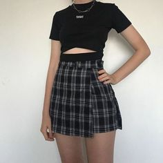 kfashion T-shirt + Plaid Skirt Two-piece Suit Plaid skirt outfits ideas what to wear plaid skirts K Fashion, Korean Fashion, Fashion Outfits, Grunge Outfits, Trendy Outfits, Cool Outfits, Checkered Skirt, Plaid Skirts, Plaid Skirt Outfits