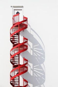 Brick Discover Red Helix by Eric Dufour Photo D'architecture, Foto Picture, Minimalist Architecture, Art And Architecture, Minimal Photography, Fire Escape, Take The Stairs, Stairway To Heaven, Staircase Design