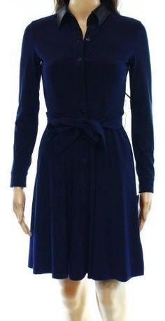 Lauren Ralph Lauren Blue Women's Size 2P Petite Shirt Dress