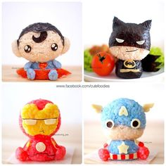 Super Heroes rice Balls for kids. How Super CUTE are these ! Cute Bento Boxes, Bento Box Lunch, Bento Kids, Japanese Food Art, Japanese Sweets, Bento Recipes, Baby Food Recipes, Kawaii Bento, Sushi Art