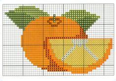 naranja Cross Stitch Fruit, Cross Stitch Kitchen, Cross Stitch Embroidery, Cross Stitch Patterns, Stitch Character, Stitch 2, Perler Beads, Beading Patterns, Needlepoint