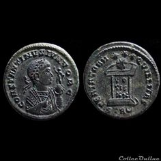 Ae3 Constantin II A/ CONSTANTINVS IVN NOB C, buste lauré, drapé et cuirassé à droite tenant un sceptre et un globe sur lequel se tient le soleil radié levant un bras et tenant un