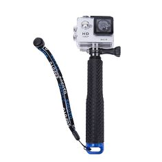 """G-raphy 19"""" Selfie Stick Waterproof Floating Pole for GoPro Fits for all kinds GoPro Camera (Blue-Round Grip)"""