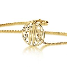 Gold Over Silver Mini Circle Monogram Necklace #monogram_necklace #gold_monogram