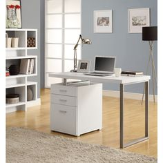 Add a convenient work or study space to any room in your home with this hollow-core desk. Featuring a convertible right- or left-facing design, this desk can be customized to fit your available space.
