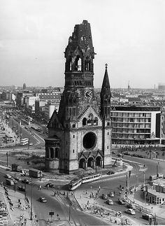 Gedaechtniskirche with the department store DEFAKA 1958 - Germany Area, East Germany, Berlin Germany, West Berlin, Berlin Wall, Architecture Old, Historical Architecture, Budapest, Berlin Photography