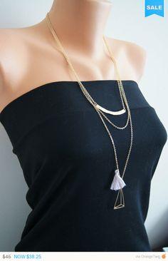 Triangle Charm Tassel Necklace /  Lariat Charm by ArtofAccessory