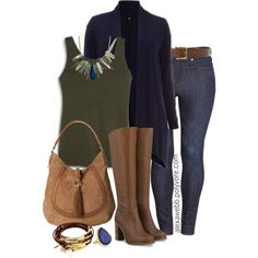 """#plus #size #fall #outfit """"Plus Size - Navy & Olive"""" by alexawebb on Polyvore"""