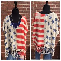Stars & Stripes! Show your #American Pride with this 100% Cotton *Made in the USA fringed poncho. S/M & M/L $68. The perfect outfit with denim shorts for the 4th of July!!
