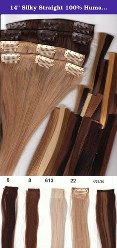 "14"" Silky Straight 100% Human Hair Clip On In Extensions 10 Piece Set Color 4/27/30 medium dark brown/light auburn/medium auburn. 100% Human Hair Clip In Extensions, 14"" Length, Full Set (10 Pieces), Silky Straight , Clip in takes just a few minutes, Fast and quick way to get longer, fuller hair for any occasion, or everyday use. You can hardly feel the clips once they are in, they are comfortable, and will stay in place until you are ready to take them out. This set is all you will need…"