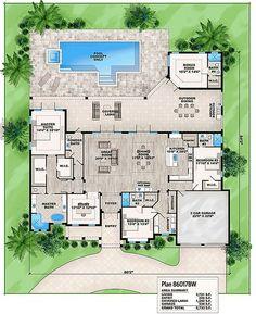 Florida House Plan with Detached Bonus Room - 86017BW   Architectural Designs - House Plans