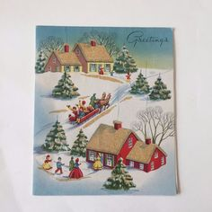 Vintage Christmas Card Neighbors Horse Drawn Sled Snowy Trees Mid Century Pop Up Vintage Christmas Cards, Christmas Greeting Cards, Christmas Greetings, Christmas Town, Christmas Crafts, Snowy Trees, Horse Drawn, Winter Scenes, Sled