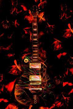 Butterflies | light painting, light brush, long exposure, still life, guitar, music, rock, orange, abstract