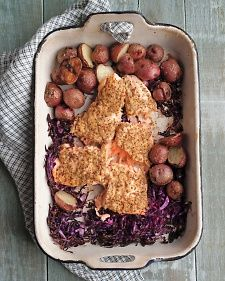 Salmon, Red Cabbage, and New Potatoes.  - so easy and wonderful!
