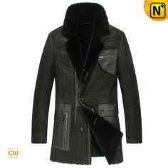 Measure to Made: Mens Shearling Winter Coat Black CW851309 - www.cwmalls.com