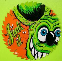 Hot Rod Jen Painted Rocks, Hand Painted, Rat Fink, Garage Art, Kustom Kulture, Lowbrow Art, Ad Art, Arts Ed, Pinstriping