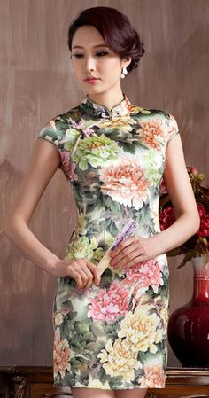 Heavy silk green/pink peony floral short Chinese summer qipao dress