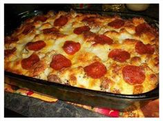 Pizza Spaghetti Casserole!! The kids will LOVE this!  INGREDIENTS-> 1 lb. Ground meat (I like turkey) ...... 1 16 oz. box uncooked spaghetti noodles ½ teaspoon salt ½ teaspoon Oregano  ½ teaspoon garlic powder ½ Cup Milk  1 Egg 2 ounces sliced pepperoni (I like Turkey) 1 (26 ounce) jar pasta sauce 1 16 oz. can diced Italian style tomatoes  ¼ cup grated parmesan cheese 1 (8 ounce) package shredded Italian cheese blend Any other pizza toppings, you can add like Black olives, sausage, onions…