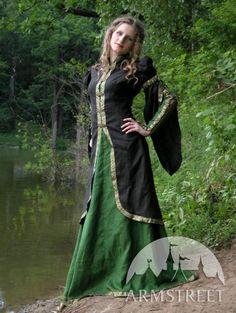Robe et cafetan de style medieval « Princesse de la forêt » ArmStreet