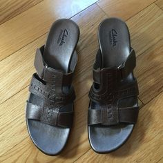 44f391f27 New Clarks bendables sandal wedges Brown gold women s sandals Clarks Shoes Sandals  Sandal Wedges