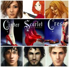 A collage of the Lunar Chronicles characters and books!