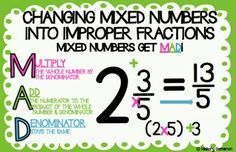 CHARTS - Includes: Changing mixed numbers into improper fractions!ANCHOR CHARTS - Includes: Changing mixed numbers into improper fractions! Multiplication Anchor Charts, Math Anchor Charts, Math Strategies, Math Resources, Math Vocabulary, Maths, Improper Fractions, Dividing Fractions, Fifth Grade Math