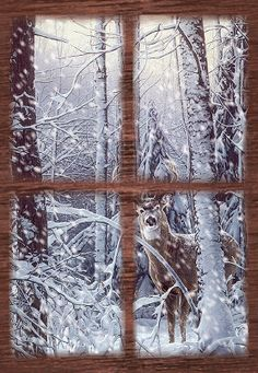 Looking out the window Christmas and winter snow | Winter landscapes and scenic wintery moving snow animations gif