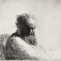 Bust of an Old Bearded Man Looking Down, Three-Quarters Right Artist: Rembrandt (Rembrandt van Rijn) (Dutch, Leiden Amsterdam) Date: 1631 Art Prints, Portrait Drawing, Rembrandt, Art Drawings, Art Masters, Dutch Painters, Painting, Art, Etching