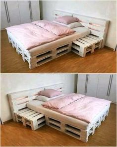 Creative Creations With Recycled Wood Pallets & kreative kreationen mit recycelten holzpaletten & creaciones creativas con paletas de madera recicladas … Diy Pallet Bed, Pallet House, Diy Pallet Projects, Pallet Bed Frames, Wood Bedroom, Bedroom Furniture, Diy Furniture, Furniture Design, Diy Bedroom