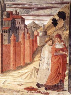 BENOZZO GOZZOLI (1421 - 1497) - The Departure of St. Jerome from Antioch. 1452. Fresco. Capella di San Gerolamo. Montefalco, Italy.