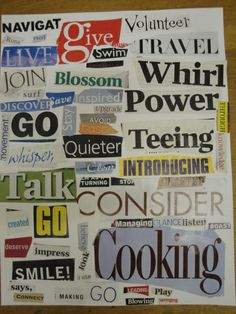 Verb hunt collage. Nice for class display.  Use for other parts of speech.