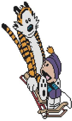 Cross Stitch Knit Crochet Plastic Canvas Waste Canvas Rug Hooking Pattern Calvin and Hobbes Sledding in the Snow. https://www.pinterest.com/resparkled/