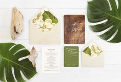 Design pictured is the Aspen wedding invitation suite. If purchasing samples, please note:  I am currently out of stock of the identical design as pictured above. If you purchase this listing, you will be mailed a comparable sample that includes the following pieces: - Hawaiian Koa wooden invitation w/white printing - Green Paper rsvp card w/white printing - Natural White Paper information card as pictured - Lined envelopes as pictured  In other words, the samples I have available to ship…