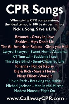 CPR Songs | Top Songs for CPR | Beyoncé - Crazy In Love Shakira - Hips Don't Lie The All-American Rejects - Gives you Hell Lynyrd Skynyrd - Sweet Home Alabama KT Tunstall - Suddenly I see Third Eye Blind - Semi-Charmed Life Rihanna - Pon de Replay Big & Rich - Save a Horse Missy Elliott - Work It Linkin Park - Breaking the Habit Michael Jackson - Man in the Mirror Modest Mouse - Float On