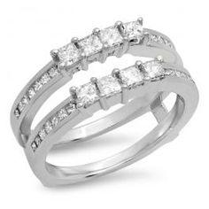 1.00 Carat (ctw) 14K White Gold Princess Cut White Diamond Ladies Anniversary Wedding Band Enhancer Guard Double Ring 1 CT - Dazzling Rock