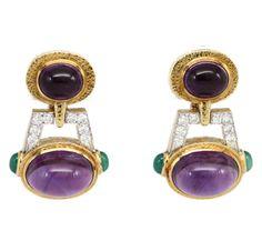 A Pair of Amethyst, Emerald and  Diamond Ear Pendants, by David Webb